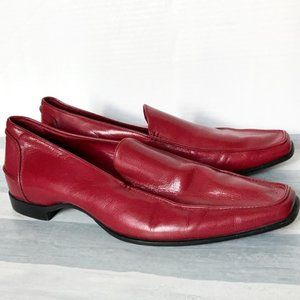 Casadei Red leather Square Toe Loafer, size 8